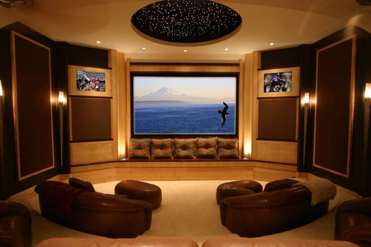 Media-Room-Decorating-Idea-Applying-Wall-Sconces-Lightings-Furnished-with-Brown-Loveseats